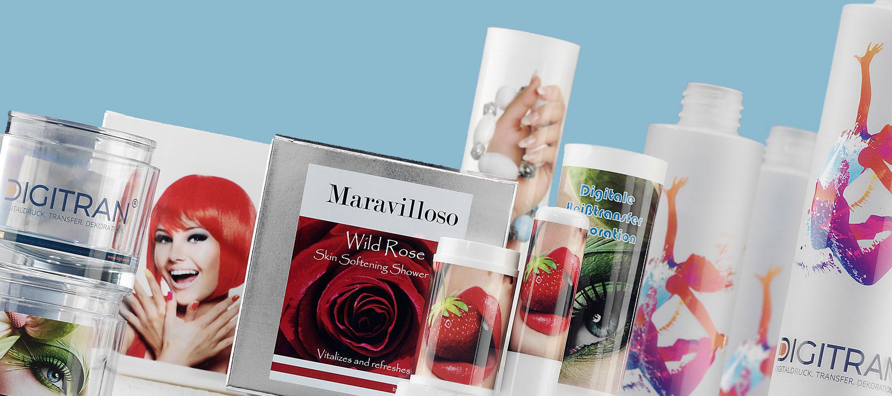 Kosmetikartikel - Beautyprodukte dekoriert mit DIGITRAN Heißtransferbildern